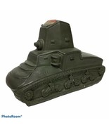 US Army Tank Bank WWII Save for Victory Buy War Bonds Green Chalkware Vi... - $99.99