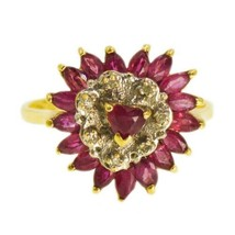 VINTAGE 14k Gold Ruby Ring Heart Shaped Cluster With Diamonds - $572.09