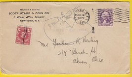 SCOTT STAMP & COIN CO. NEW YORK, NY JUNE 19 1936 POSTAGE DUE  - $1.98