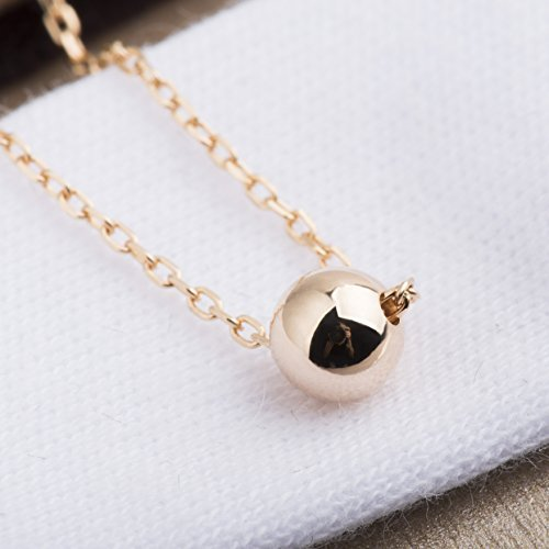 S.Leaf Sterling Silver Necklace Dainty Solid Bead Necklace Gold (gold)