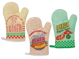 OVEN GLOVE MITT - VINTAGE/ RETRO DINER DESIGN - KITCHEN USE - $3.78+