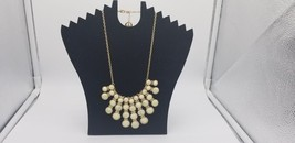 Trifari Gold Tone Statement Necklace With White Marble Hanging Pendants & Tag - $29.02