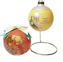 "Lot of 2Vintage Precious Moments Enesco Glass 3"" Christmas Ornaments 199... - £16.68 GBP"