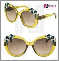 JIMMY CHOO MEGAN Translucent Lemon Green Cedar Mirrored Round Sunglasses Megan/S - $276.21