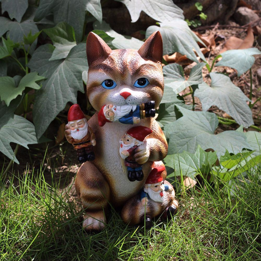 Cat Massacre Figurine Garden Gnome Statue Yard Lawn Patio House Door Art Decor