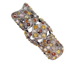 17.6ct Slice/Color Diamond Pave Knuckle Ring 925 Silver 14k Gold Antique... - $2,141.95