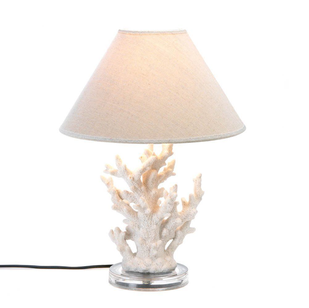 2 IVORY WHITE CORAL TABLE LAMPS Round Base Beige Neutral Shade Beach Ocean Decor