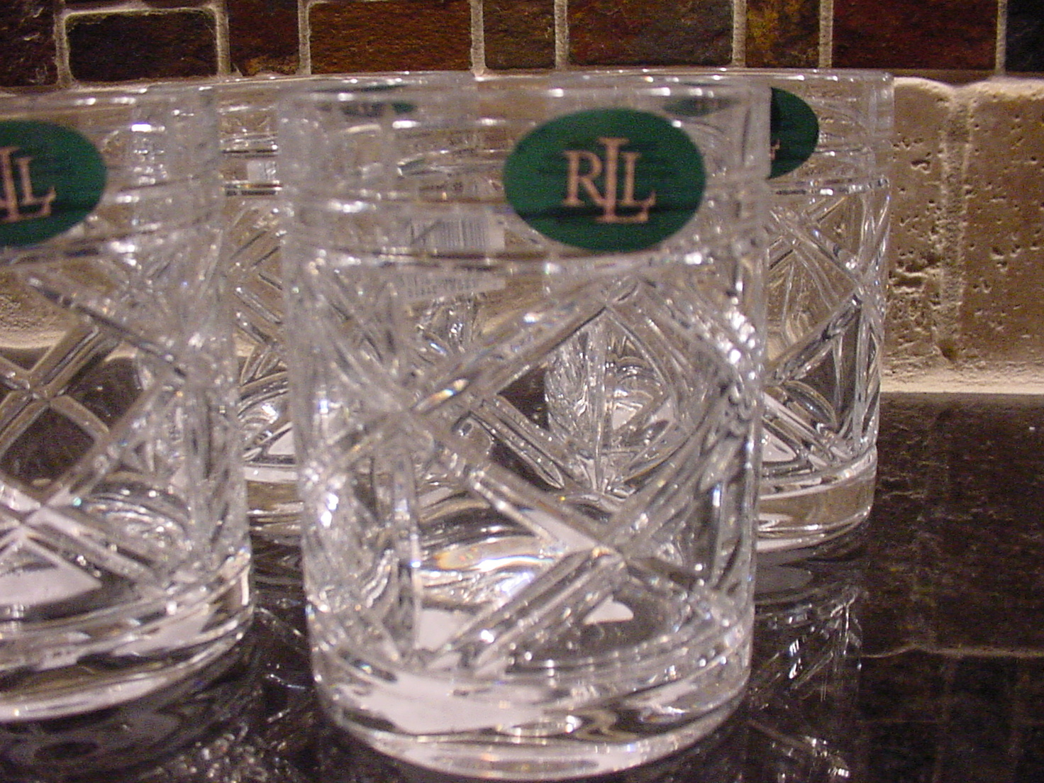 Ralph Lauren Brogan Crystal Double Old Fashioned Glasses Set of 4