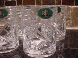 Ralph Lauren Brogan Crystal Double Old Fashioned Glasses Set of 4 - $69.00