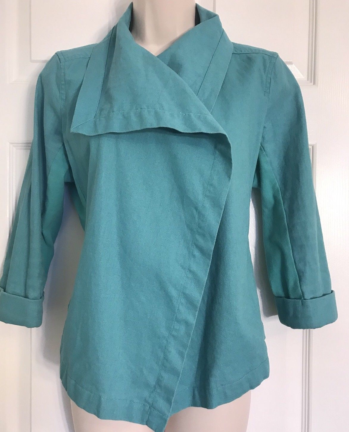 Lucy Activewear Linen Blend Small Open Cardigan Jacket Teal Green Wrap Flyaway