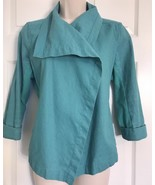 Lucy Activewear Linen Blend Small Open Cardigan Jacket Teal Green Wrap F... - $18.05