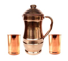 Pure Copper Jug With 2 Glass Drink ware set Pitcher Tumbler vessel pot - $45.12