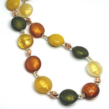 "NECKLACE GREEN ORANGE YELLOW ROUNDED MURANO GLASS DISC, 45cm 18"", MADE IN ITALY image 2"