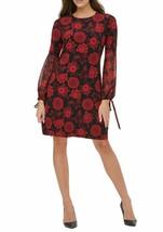 Tommy Hilfiger Women's Floral Chiffon Sleeves A-Line Jersey Dress Black ... - $64.34