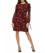 Tommy Hilfiger Women's Floral Chiffon Sleeves A-Line Jersey Dress Black ... - $64.34