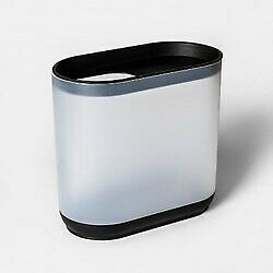 Room Essentials Bathroom Trash Can Wastebasket Frosted White/Black (STORE) NEW