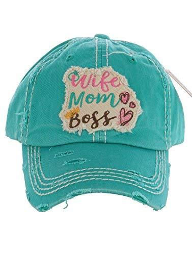 Distressed Vintage Style Wife Mom Boss Hat Baseball Cap (Turquoise)