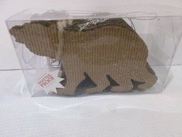 Rustic Woodland Corrugated Glitter Bear Christmas Holiday Ornaments Set ... - $16.99