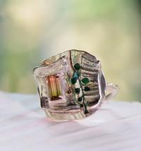 Pink-Green Tourmaline Ring, Silver and Tourmaline Statement Ring - $200.00