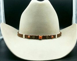 NEW BROWN HATBAND Braided Leather w/ ORANGE STONE, SILVER+GOLD CONCHOS H... - €19,22 EUR