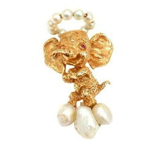 Rare Vintage Ruser 14k Yellow Gold Republican Ruby Pearl Happy Elephant Pin - $1,500.00