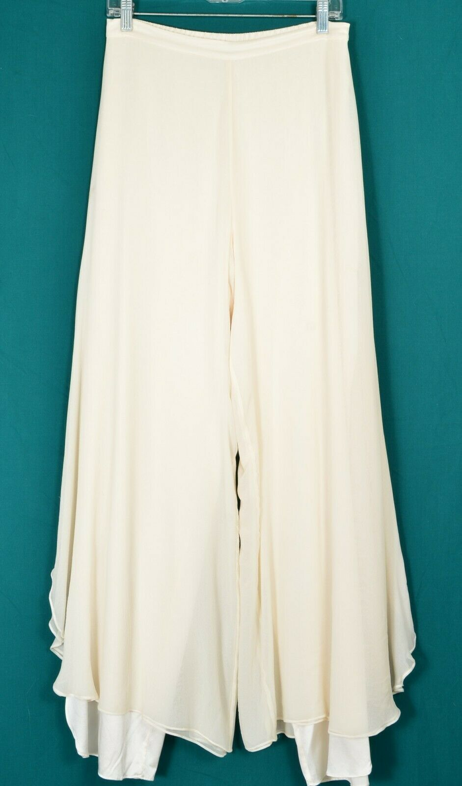 St John pants Evening SZ 8 off-white cream 2-layer silk long slits on leg USA image 4