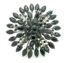 Large Black Glass Rhinestone Flower Burst Silver Tone Pin Brooch Vintage - $39.59