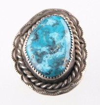 Vintage Silver Blue-Green Turquoise Ring (Size 6) Free-Form Stunning & S... - $939,09 MXN