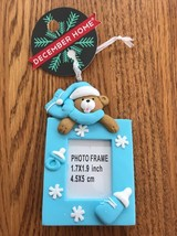 BABY Mini Picture Frame Blue Teddy Bear Christmas Tree Ornament Ships N 24h - $7.90