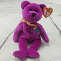 """Beanie Babies Millennium Bear TY 1999 Plush Toy Stuffed Animal 9"""" Used With Tags - $19.79"""