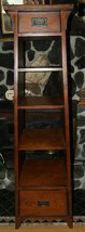 VINTAGE ARTS AND CRAFTS STICKLEY STYLE TAPERED BOOKCASE 4 SHELVE + 2 DRA... - $420.75