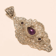 27ct Handmade 925 Sterling Silver Natural Purple Amethyst Fine Jewelry Pendant - $17.89
