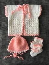 Handmade Baby Cardigan Knit Hat & Booties - $49.56