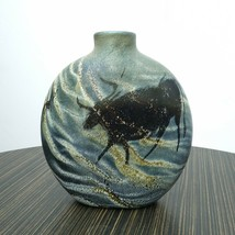 Vintage Rick Satava Art Glass Cave Painting/Petroglyph Vase - $604.75