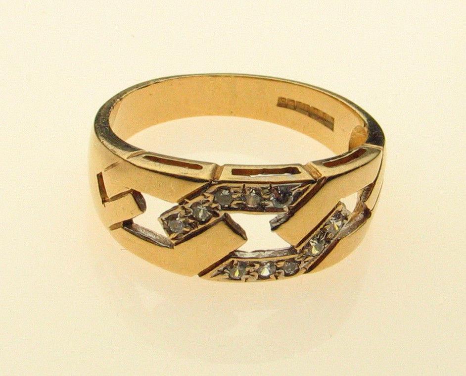 Vintage 9ct Gold CZ Set Ring Size O Birmingham 1990