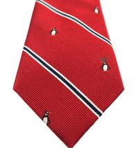 NEW MENS TOMMY HILFIGER PENGUIN STRIPE RED SILK NECK TIE $65 - $24.74