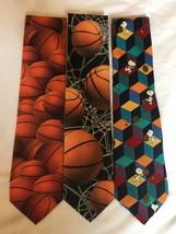 Lot Of 3 Basketball Themed NECKTIES/REG. Length,By Ralph Marlin /PEANUTS,SNOOPY - $14.40