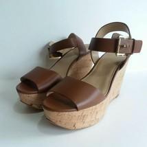 MICHAEL KORS Xaria Wedge Sandal Shoe Women's Size 7.5 Tan Leather Cork Heel - $59.80