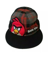 Red Angry Birds Cap Hat on Black Red Metallic Gold Plaid Snapback Black ... - $14.33