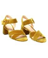 J Crew Women's Velvet Penny Ankle Strap Sandals Heels 9 K0007 Gilded Amber - $82.79