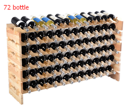 72 Bottle Tall Wooden Wine Storage Rack Holder Bar Display Shelves Party... - $74.69