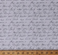 Cotton Cursive Words Script on Gray Love Note Fabric Print by the Yard D... - $11.95