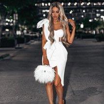 New Sexy Summer Fashion One Shoulder Bow Mesh Ruffle Sleeveless Bandage Celebrit