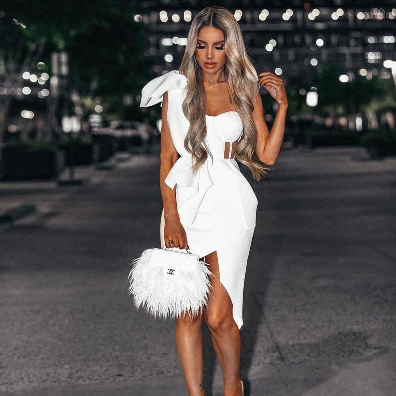 Mmer fashion women bodycon dress one shoulder bow mesh ruffle sleeveless bandage dress celebrity
