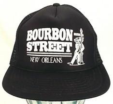 Vtg BOURBON STREET New Orleans Trucker Hat-Mesh-BLACK-Rope Bill-Speedway - $24.30