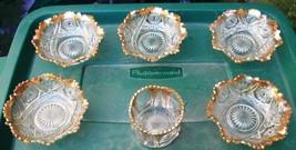 ~ Lot Of Vintage Pressed/Cut Glass? Dessert/Serving Bowls W/Gold Trim ~ ... - $30.00