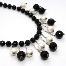 SILVER 925 NECKLACE, ONYX BLACK ROUND, WHITE PEARLS, FRINGE, CASCADE image 3