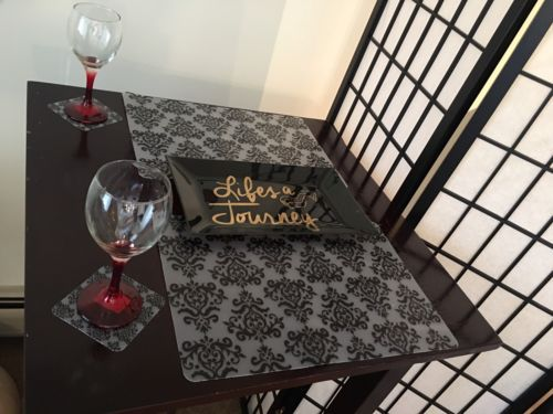 6 Clear Black Frost Home Dining Table Placemats Coaster Set Holiday Cyber Sale