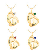 Round 3MM Birthstone 14K Yellow Gold Plated Mother's Footprints Pendant ... - $99.99