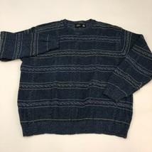 Haggar Chunky Knit Sweater Men's Size 2XL XXL Long Sleeve Blue Striped C... - $19.99